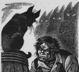 "Gravure de Fritz Eichenberg, illustration de ""The Black Cat"" d'Edgar Poe, 1944"